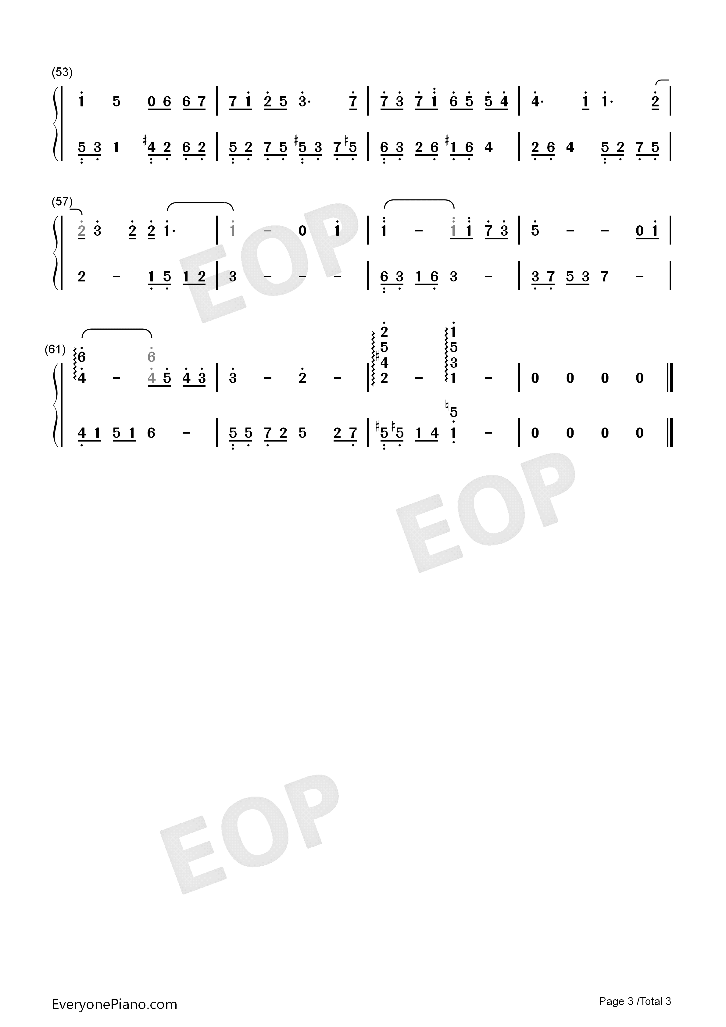 A Room of Ones Own Numbered Musical Notation Preview 3