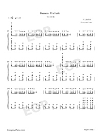 Carmen Prelude-Korean Style-Numbered-Musical-Notation-Preview-1