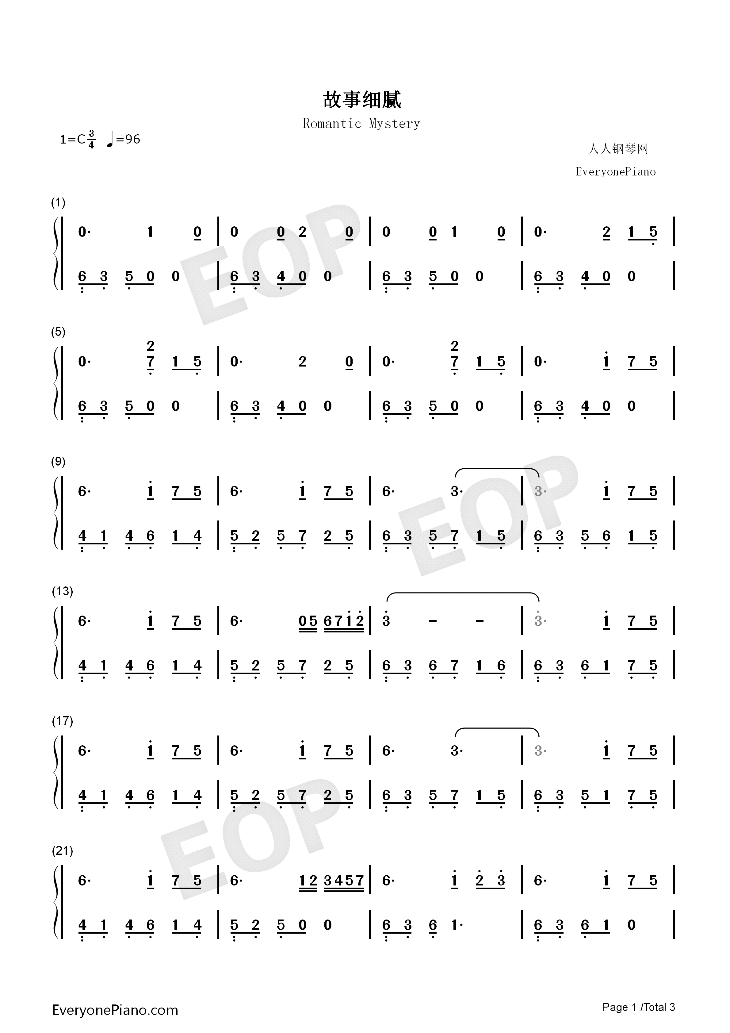 Romantic Mystery-JJ Lin Numbered Musical Notation Preview 1