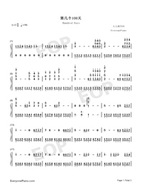 Hundred Days-JJ Lin-Numbered-Musical-Notation-Preview-1