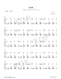 Twinkle Twinkle Little Star-Triple Version-Numbered-Musical-Notation-Preview-1