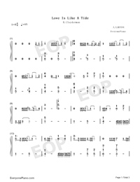 Love Is Like A Tide-Richard Clayderman-Numbered-Musical-Notation-Preview-1