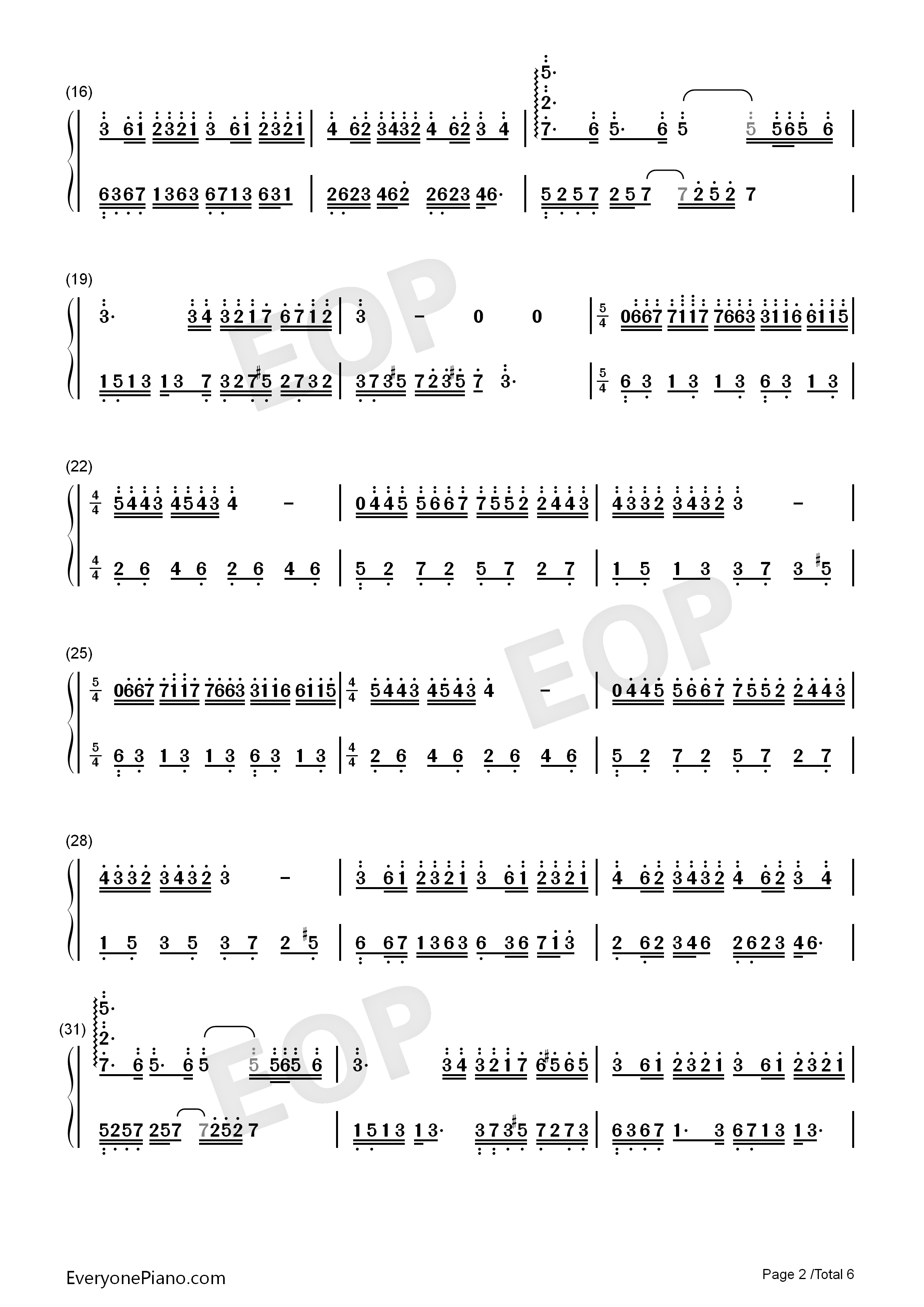 Dream Wedding Adapted Version-Mariage d'amour Numbered Musical Notation Preview 2