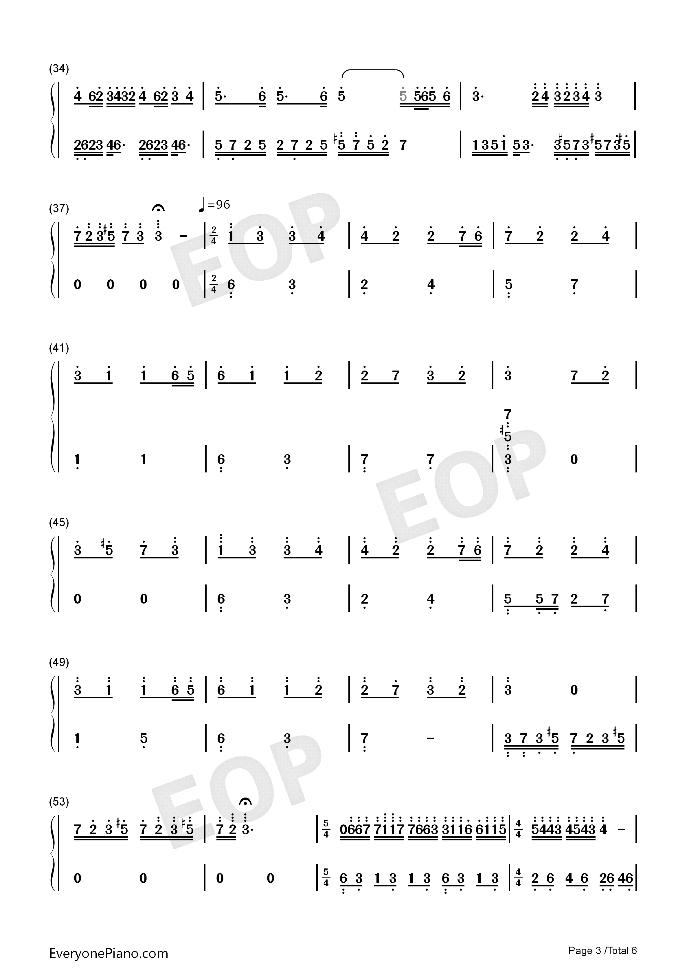Dream Wedding Adapted Version-Mariage d'amour Numbered Musical Notation Preview 3