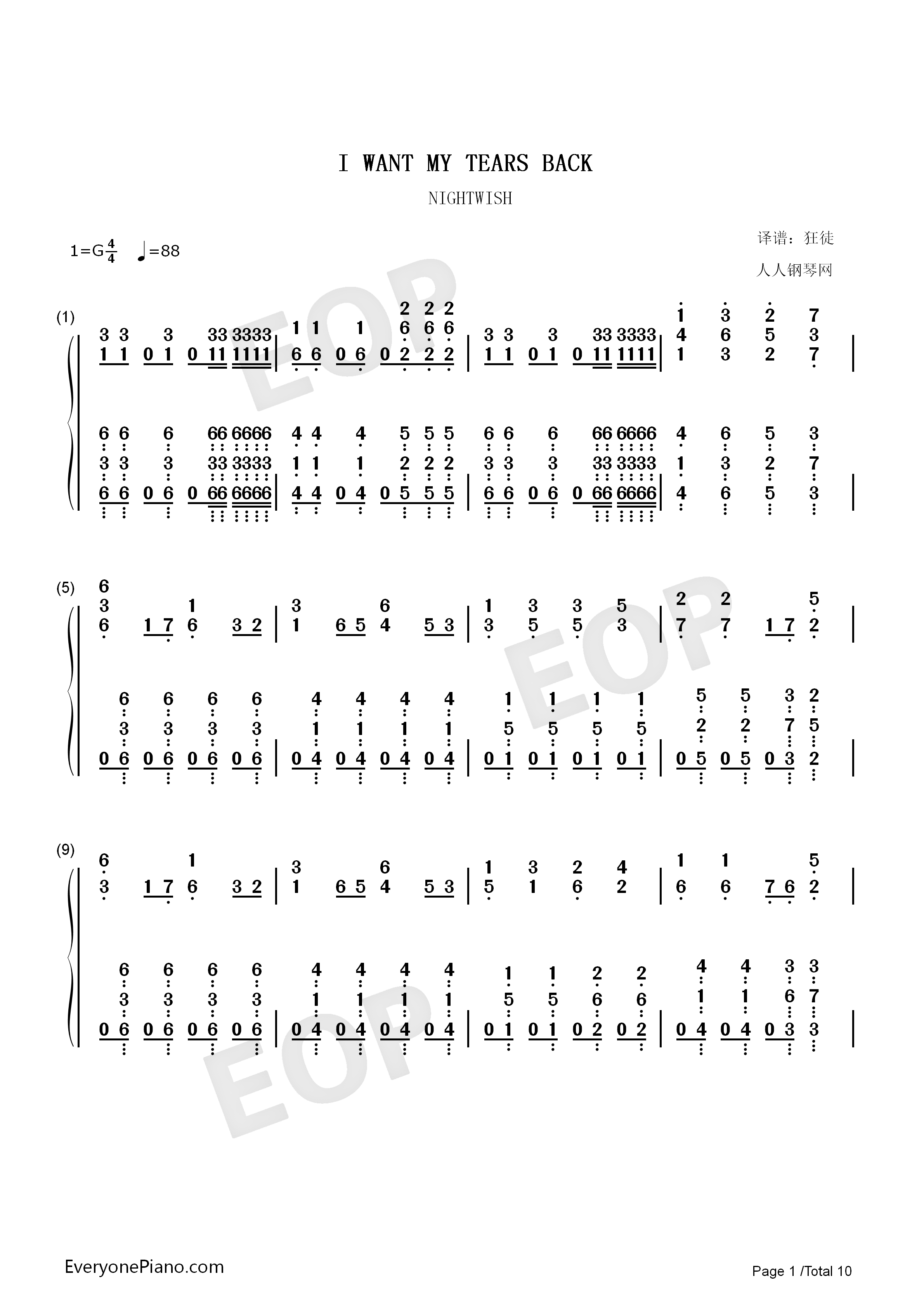 I Want My Tears Back-Nightwish Numbered Musical Notation Preview 1