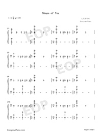 Shape of You-Play Version-Numbered-Musical-Notation-Preview-1