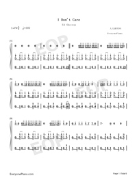 I Dont Care-Ed Sheeran ft Justin Bieber-Numbered-Musical-Notation-Preview-1