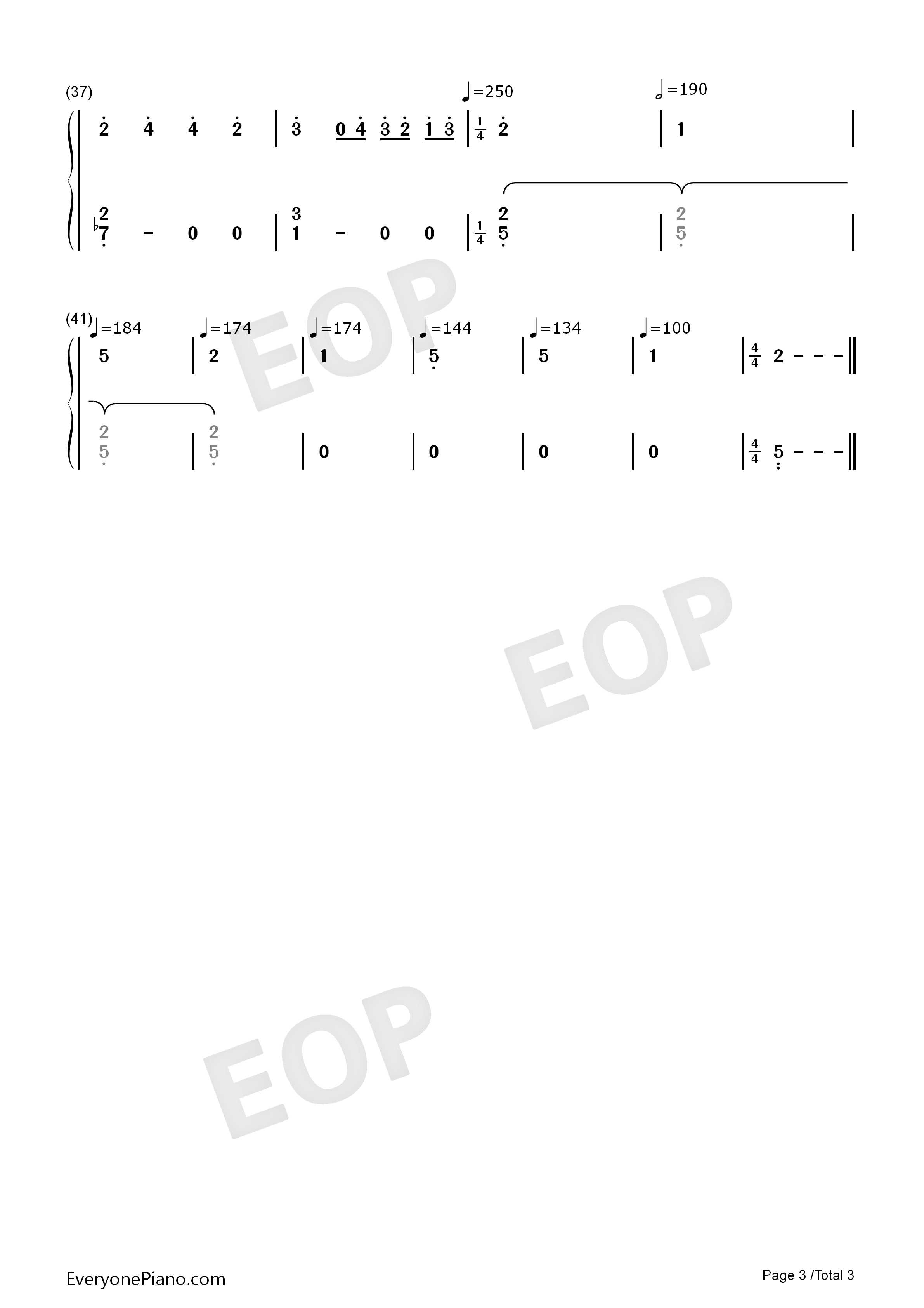 The Piano-Dancing Line Numbered Musical Notation Preview 3