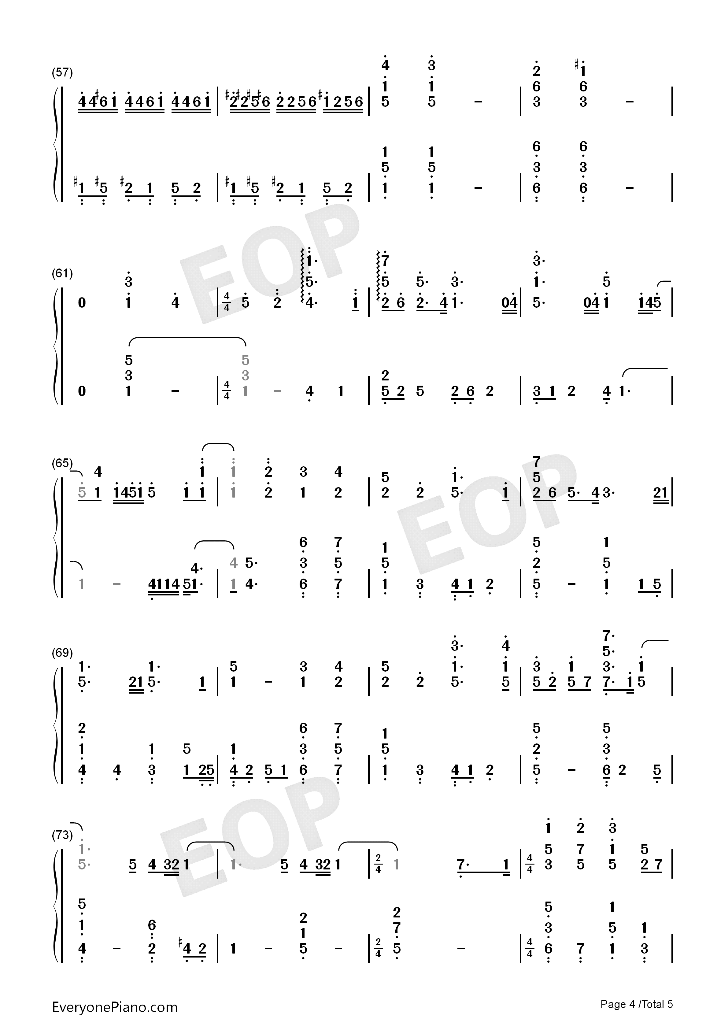 Viāto-Piano Version Numbered Musical Notation Preview 4