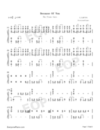 Because of You-The Piano Guys-Numbered-Musical-Notation-Preview-1