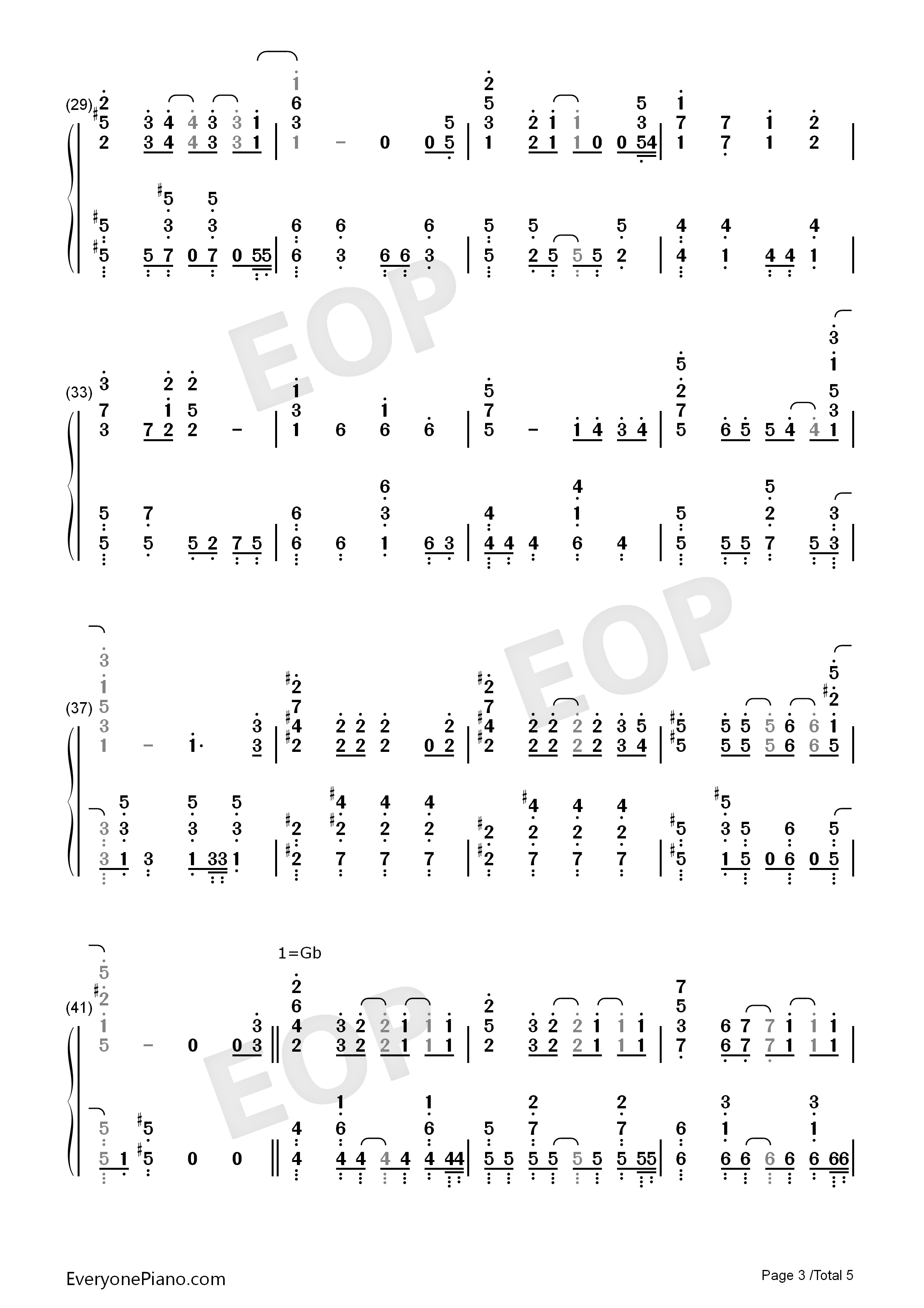 Day to Story-Date A Live II ED Numbered Musical Notation Preview 3