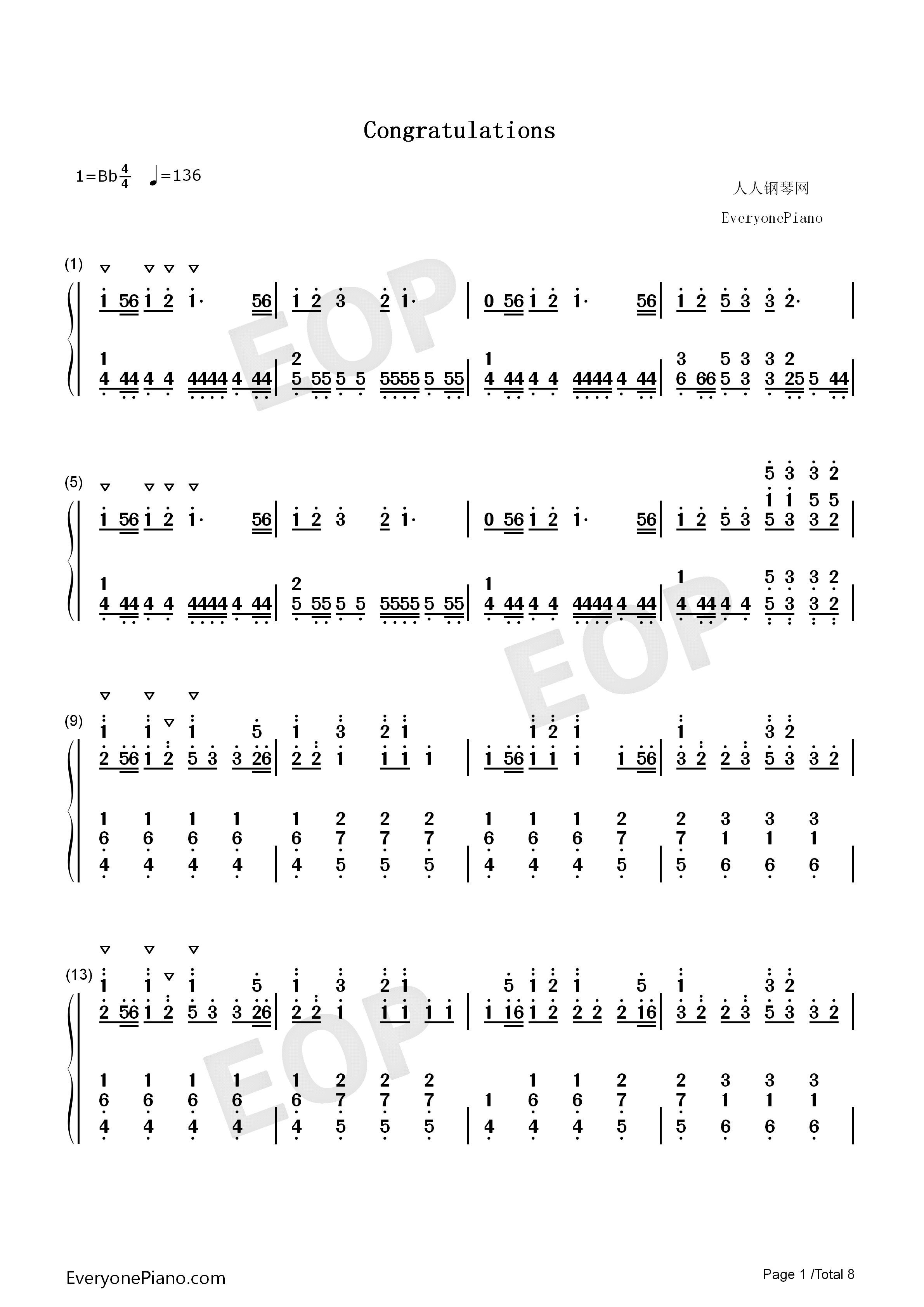 Congratulations-Pewdiepie Numbered Musical Notation Preview 1