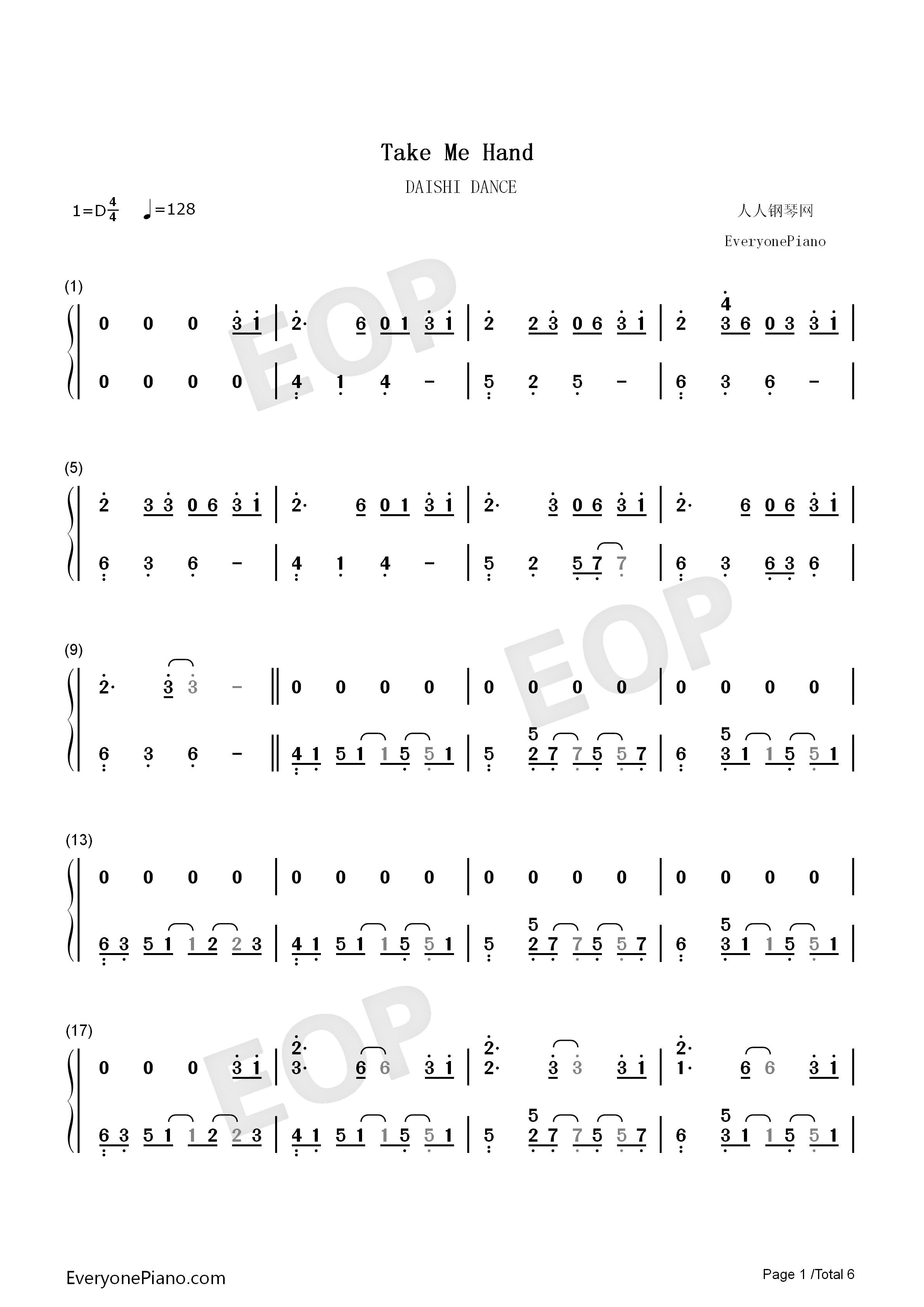 Take Me Hand-Perfect Version Numbered Musical Notation Preview 1