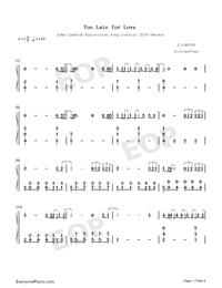Too Late for Love-Eurovision Song Contest 2019 Numbered Musical Notation Preview 1