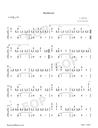 Rockstar-A Great Big World Numbered Musical Notation Preview 1