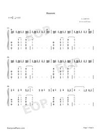Heaven-Avicii ft Chris Martin両手略譜プレビュー1