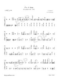 グレイ-モブサイコ100第2期ED両手略譜プレビュー1