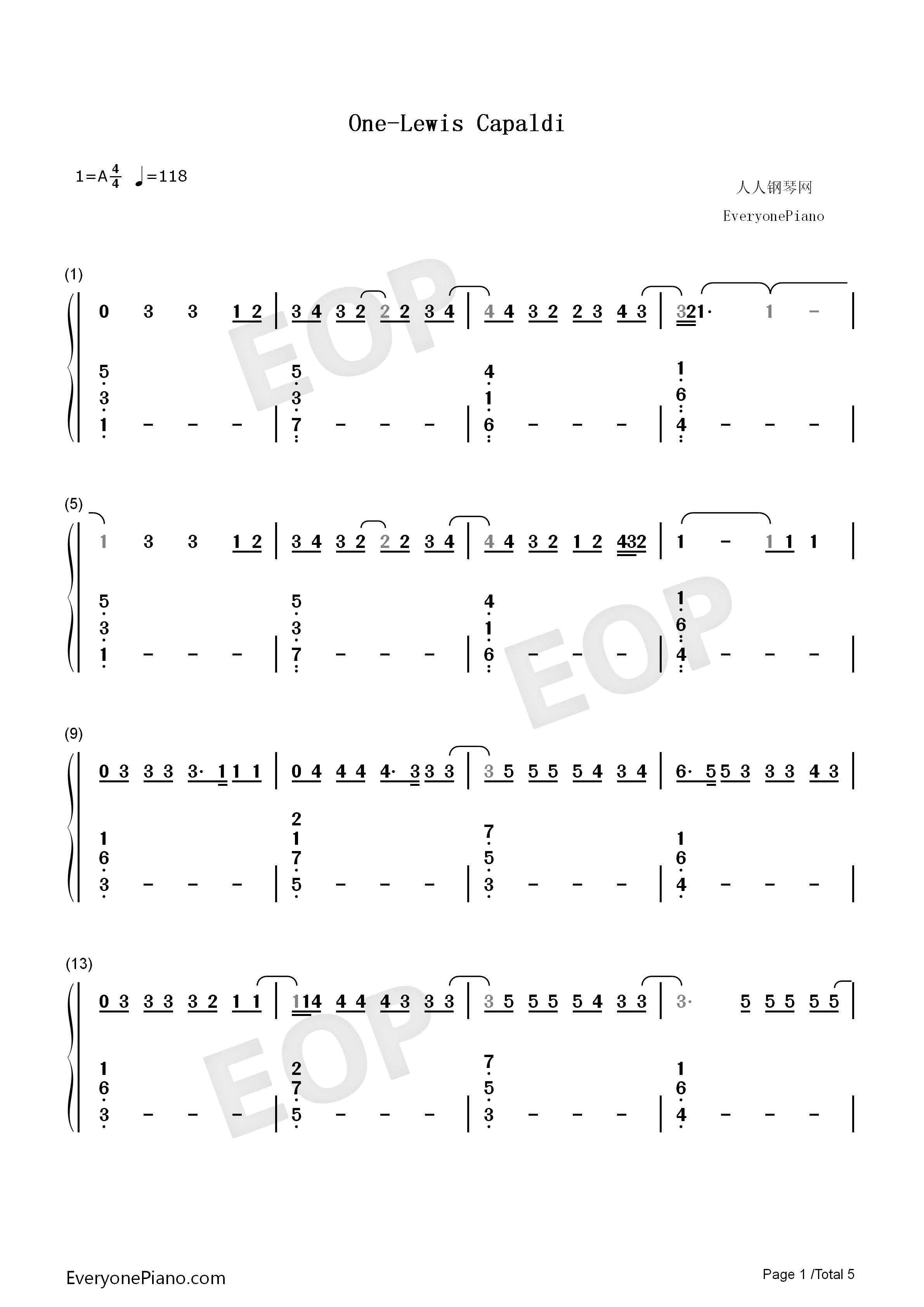 One-Lewis Capaldi Numbered Musical Notation Preview 1