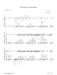 You Need To Calm Down-Taylor Swift-Numbered-Musical-Notation-Preview-1