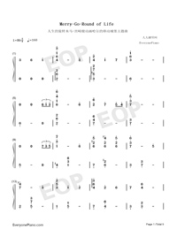 Merry-Go-Round of Life-Full Version-Numbered-Musical-Notation-Preview-1