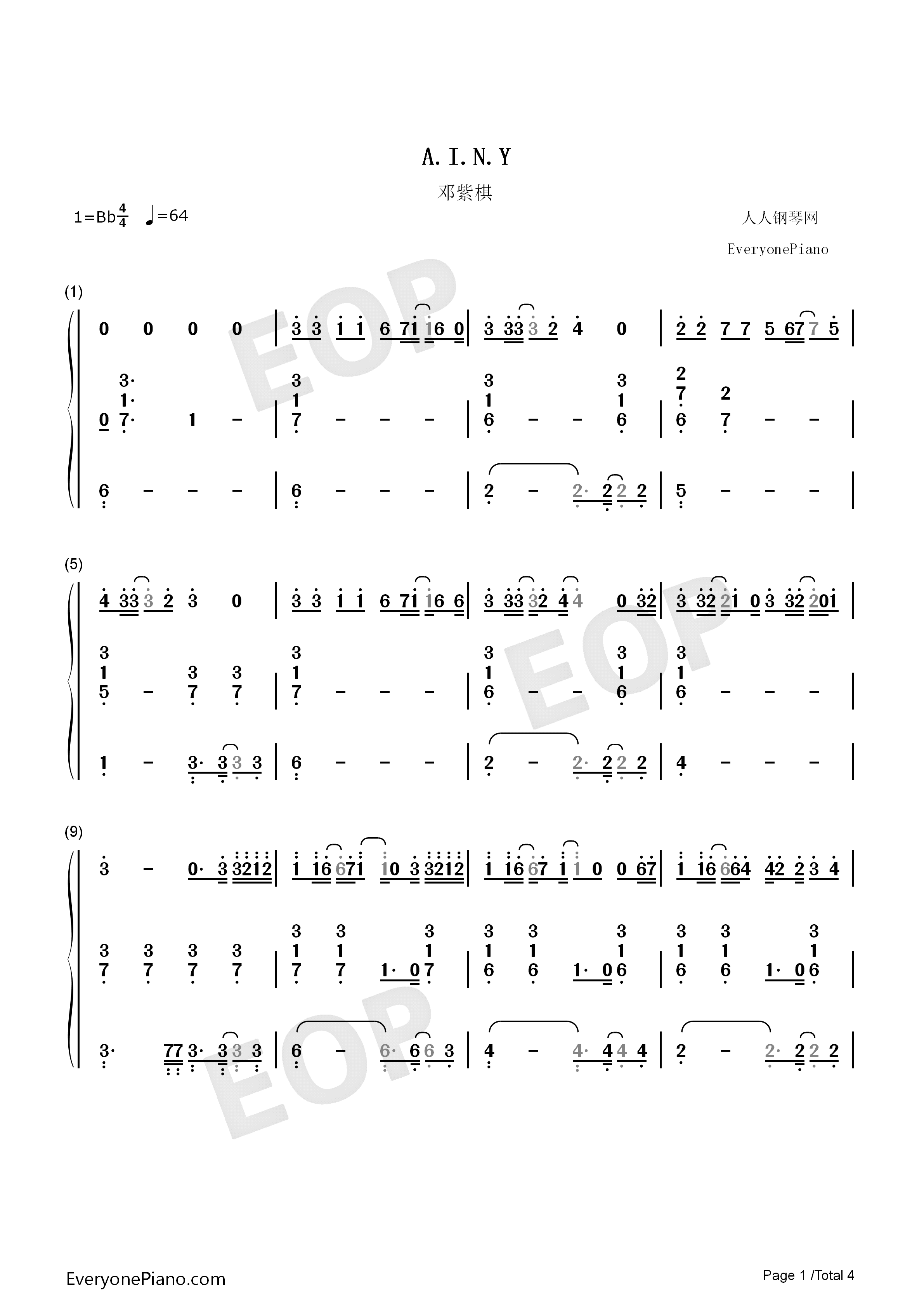 A.I.N.Y.-G.E.M. Numbered Musical Notation Preview 1
