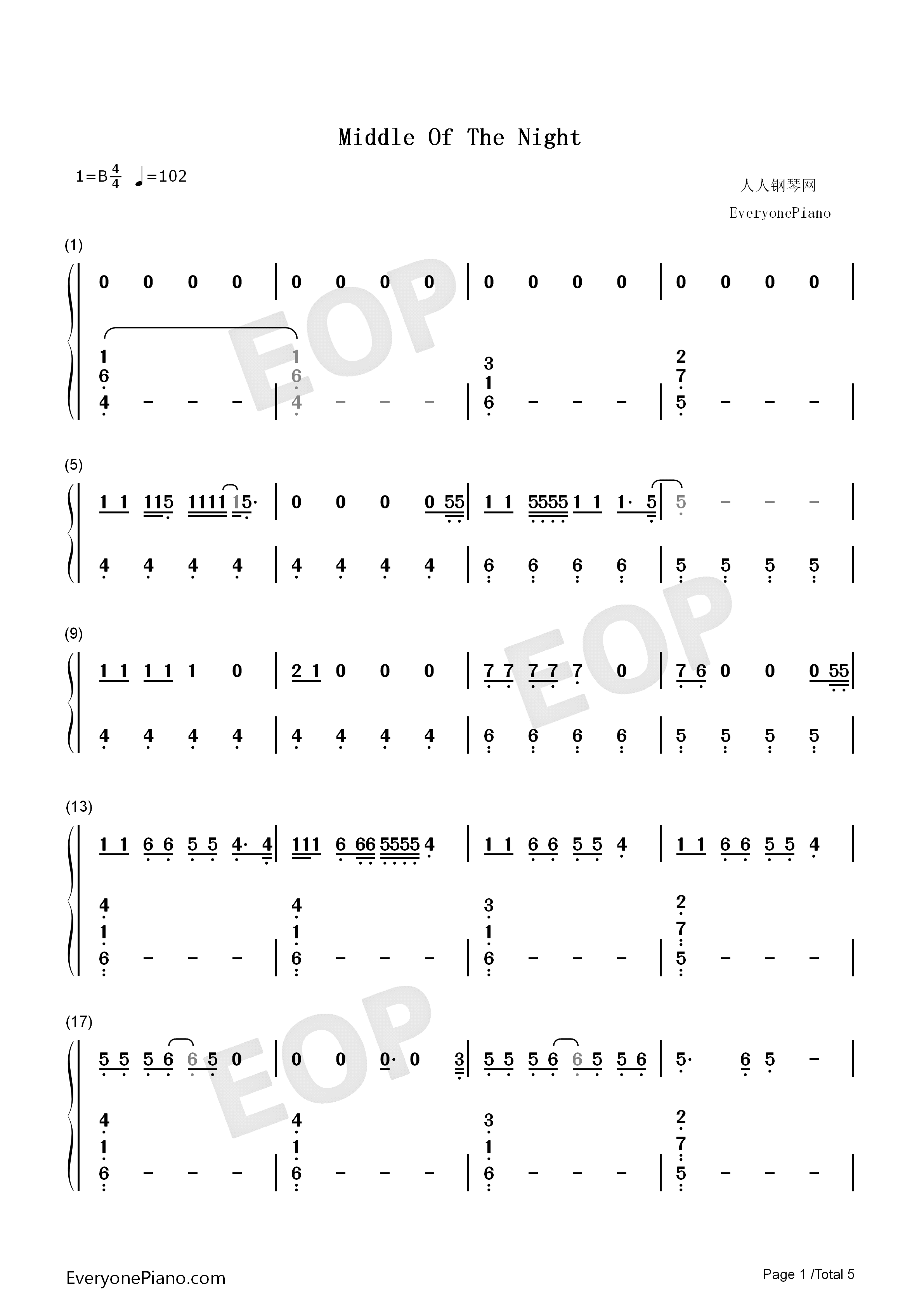 Middle of the Night-Amy Shark Numbered Musical Notation Preview 1