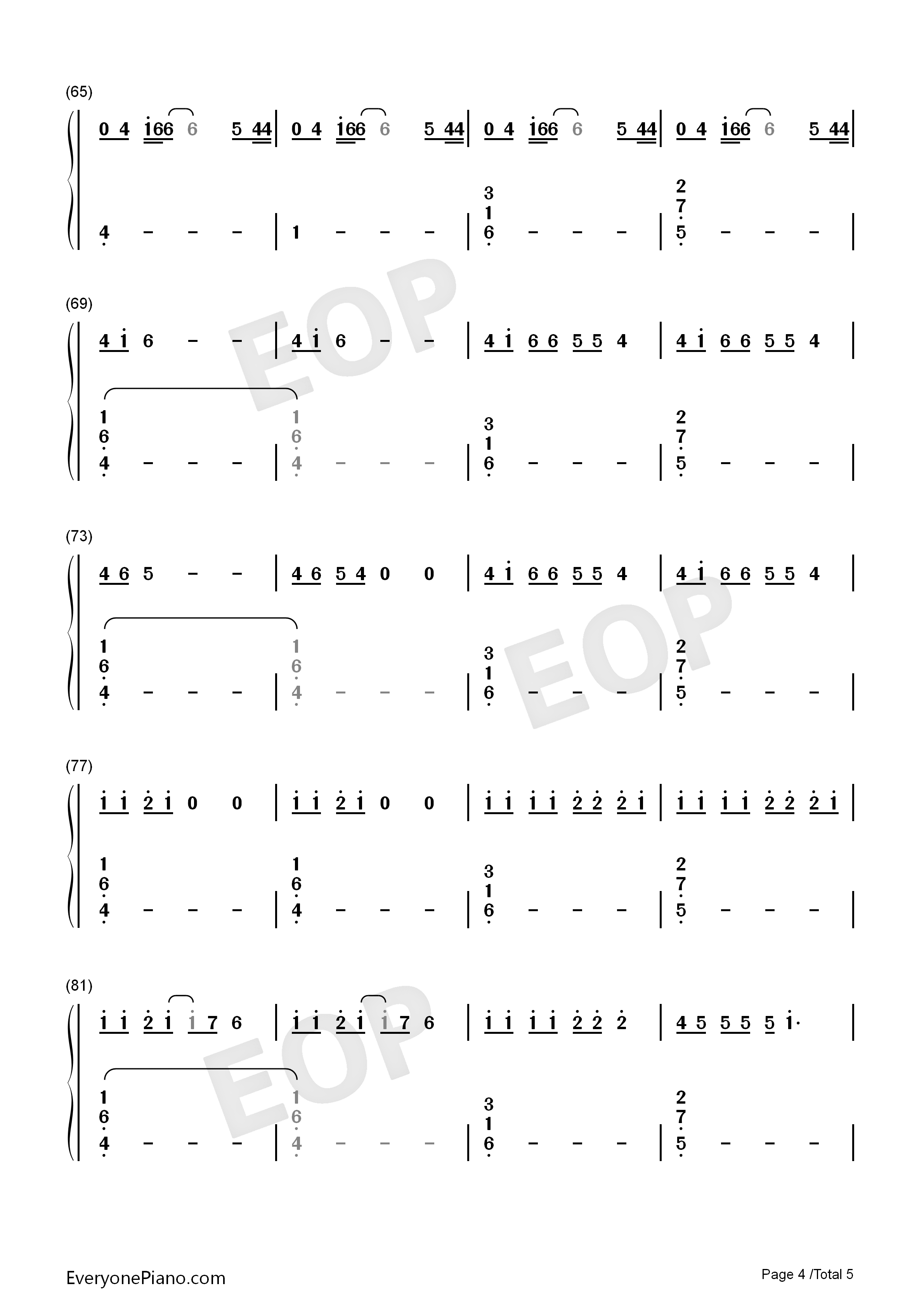 Middle of the Night-Amy Shark Numbered Musical Notation Preview 4