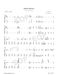 Hakuna Matata-The Lion King OST-Numbered-Musical-Notation-Preview-1