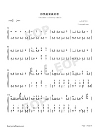 You Have a Pretty Smile-Full Version-Numbered-Musical-Notation-Preview-1