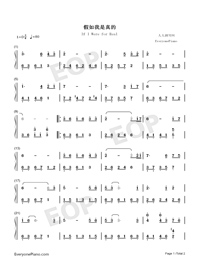 If I Were for Real Numbered Musical Notation Preview 1