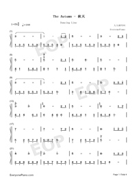 The Autumn-Dancing Line-Numbered-Musical-Notation-Preview-1