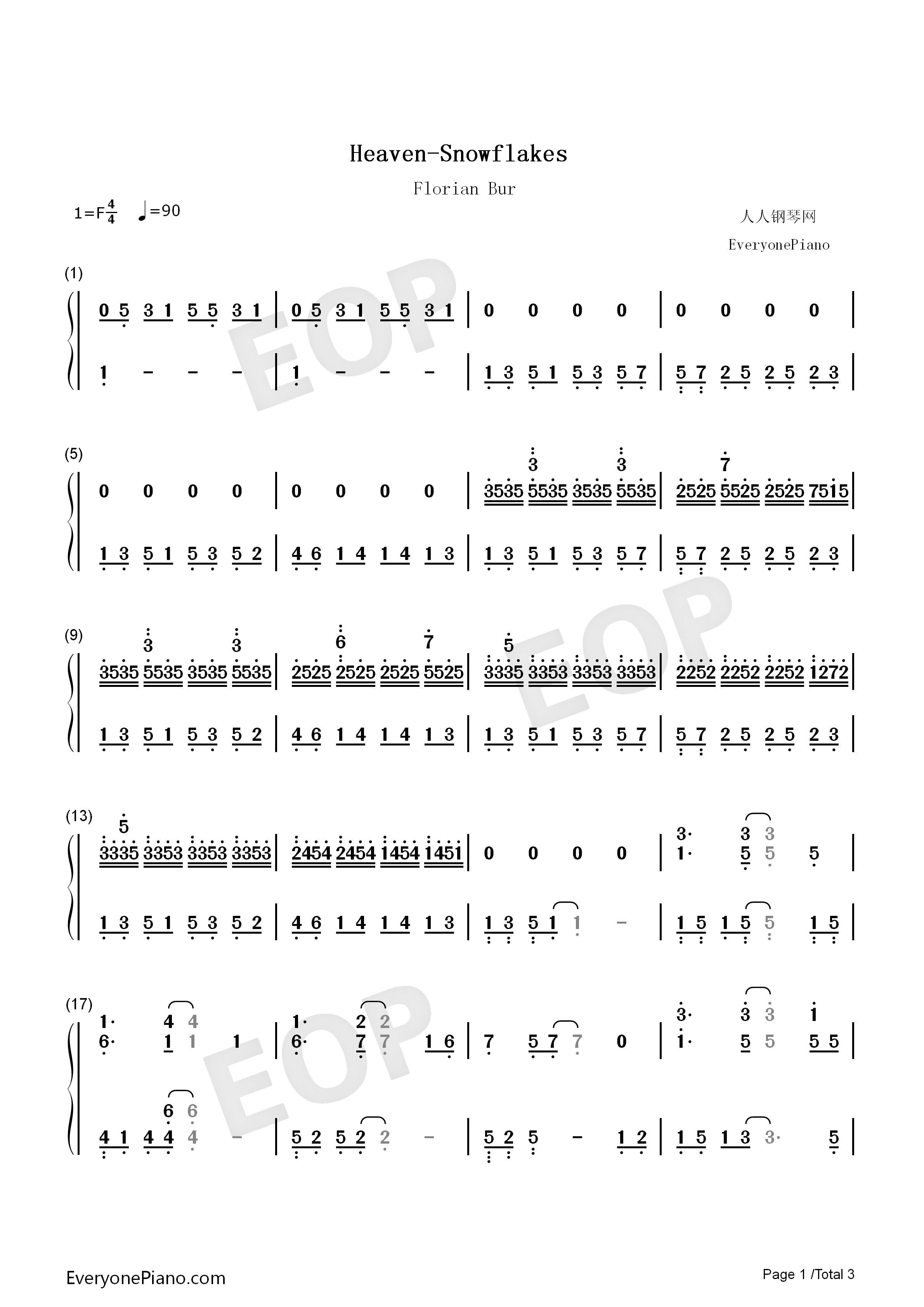 Heaven Snowflakes Florian Bur Numbered Musical Notation Preview