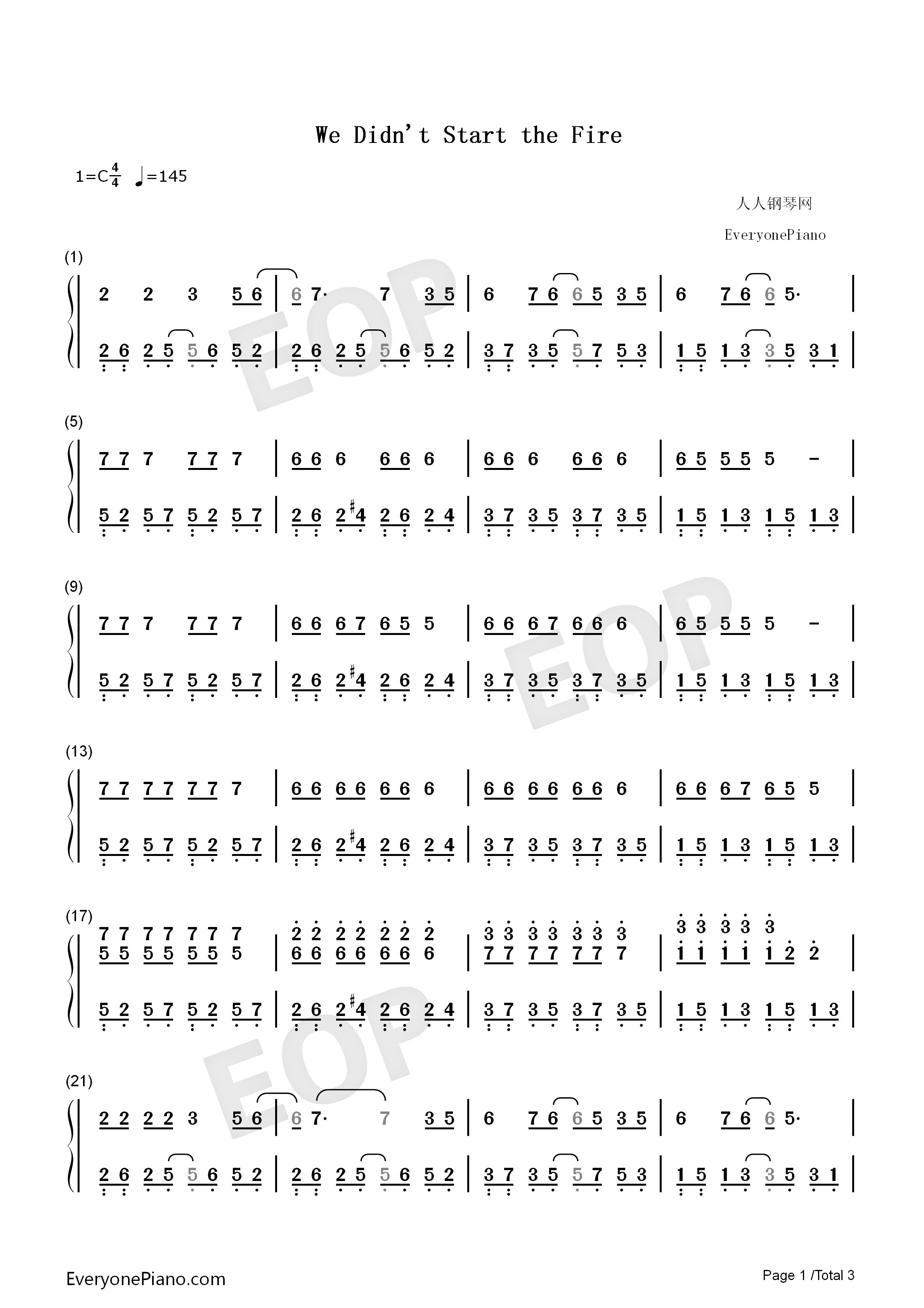 We Didnt Start the Fire-Avengers Endgame Numbered Musical Notation Preview 1