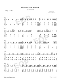 The Battle of Aughrim-Na Casaidigh Numbered Musical Notation Preview 1