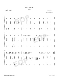 Let You Go-Hua Chenyu-Numbered-Musical-Notation-Preview-1
