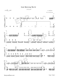 Good Morning World-Dr Stone OP-Numbered-Musical-Notation-Preview-1