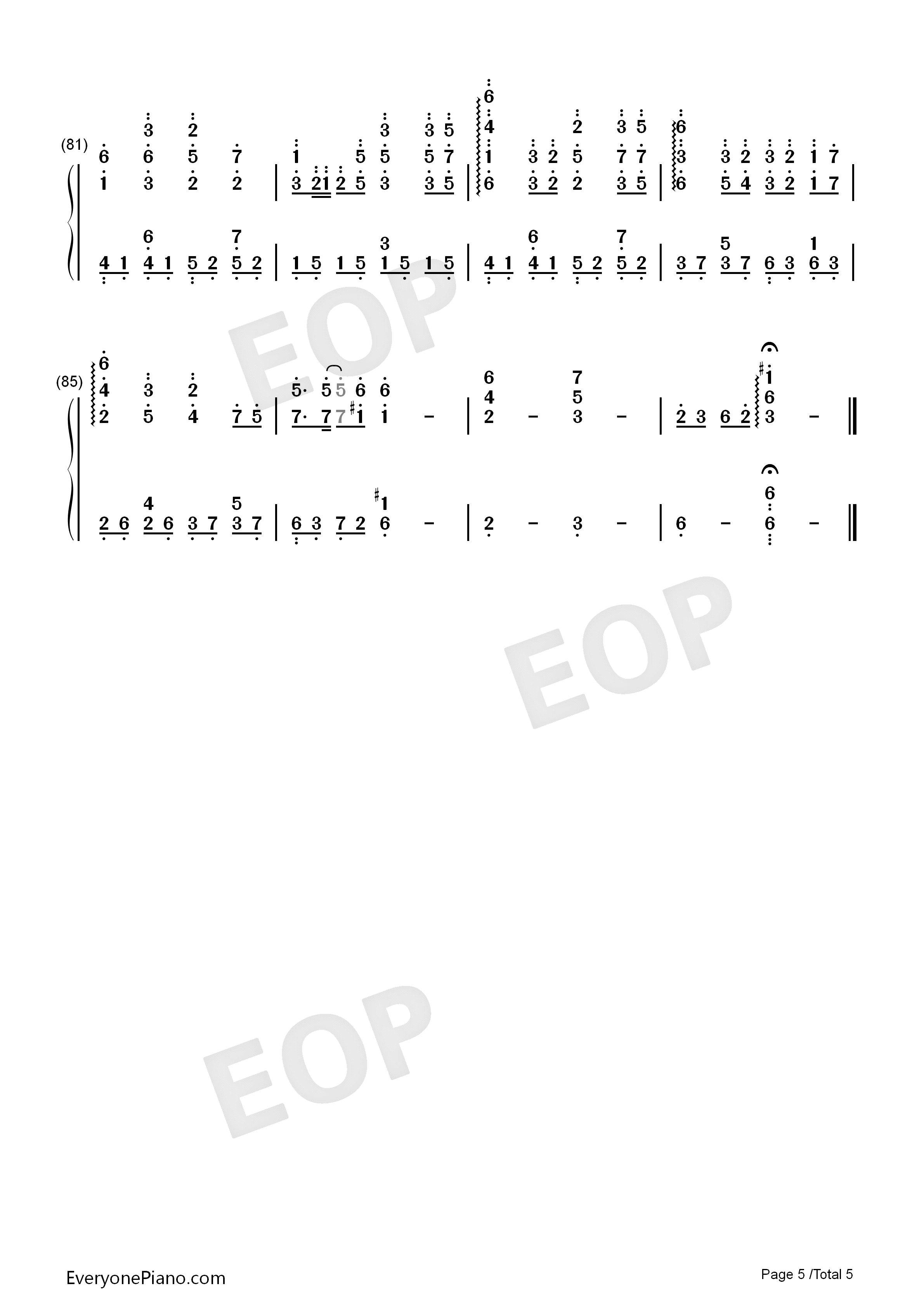 Oborozuki-Full Version Numbered Musical Notation Preview 5