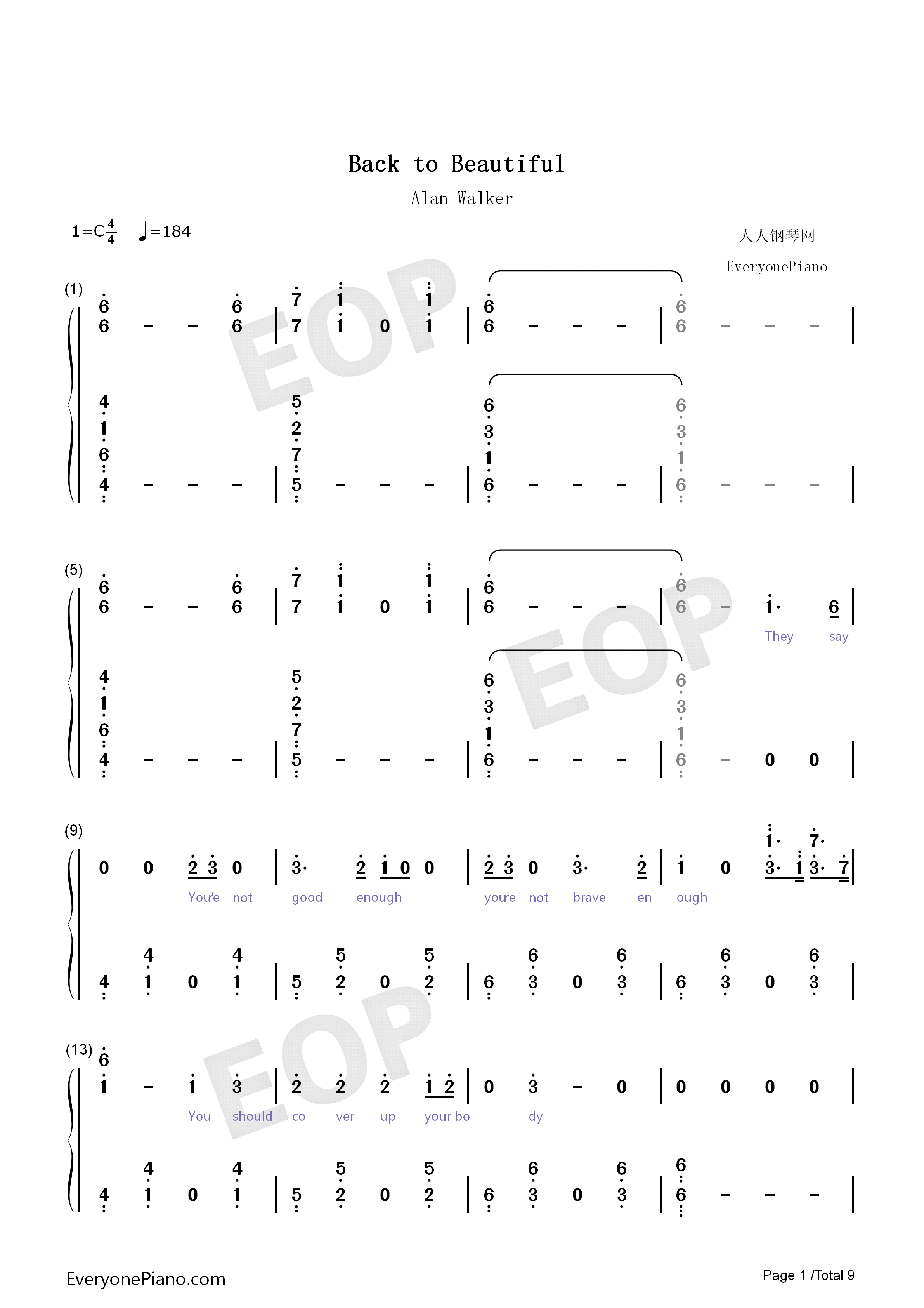 Back to Beautiful Numbered Musical Notation Preview 1