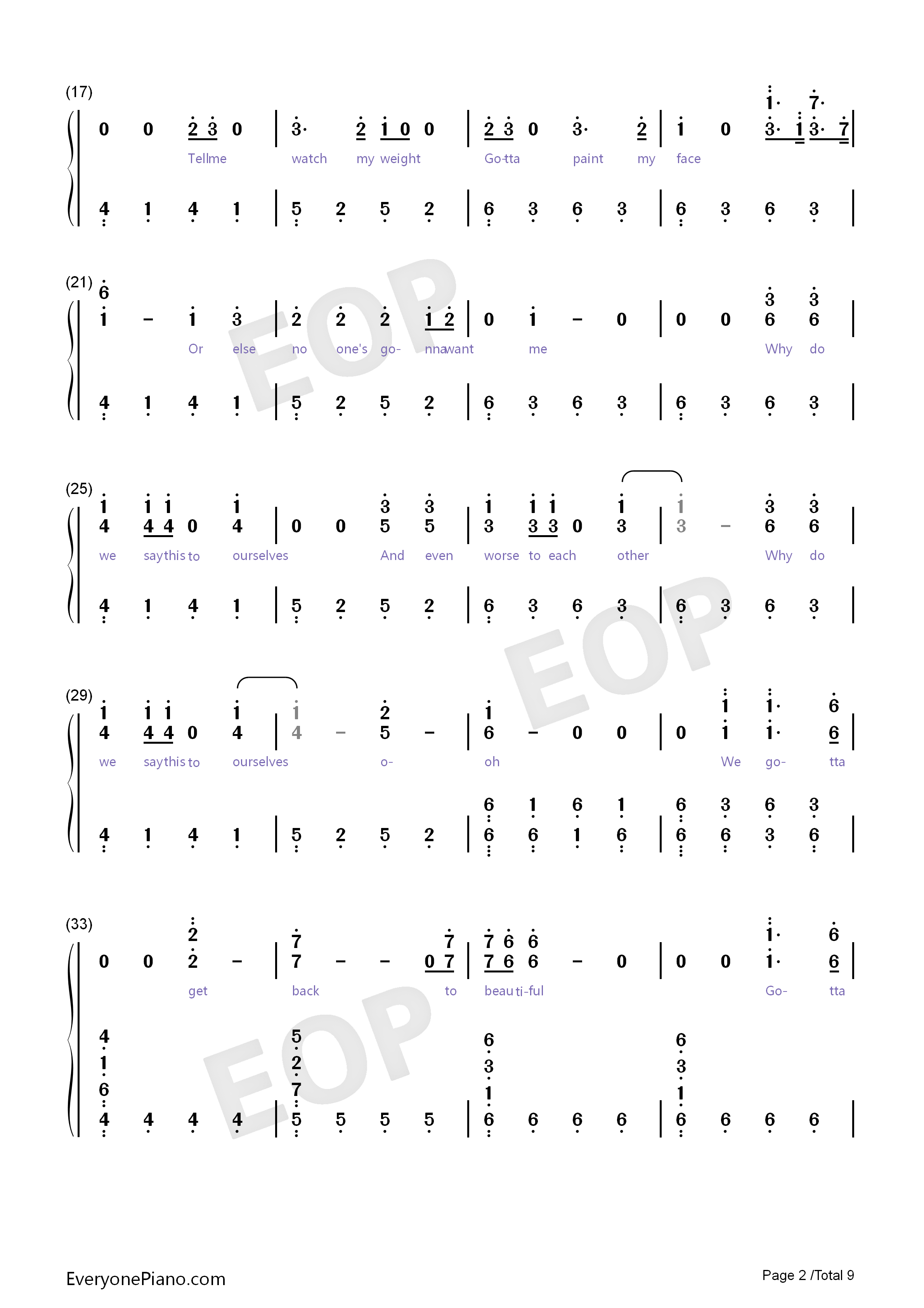 Back to Beautiful Numbered Musical Notation Preview 2