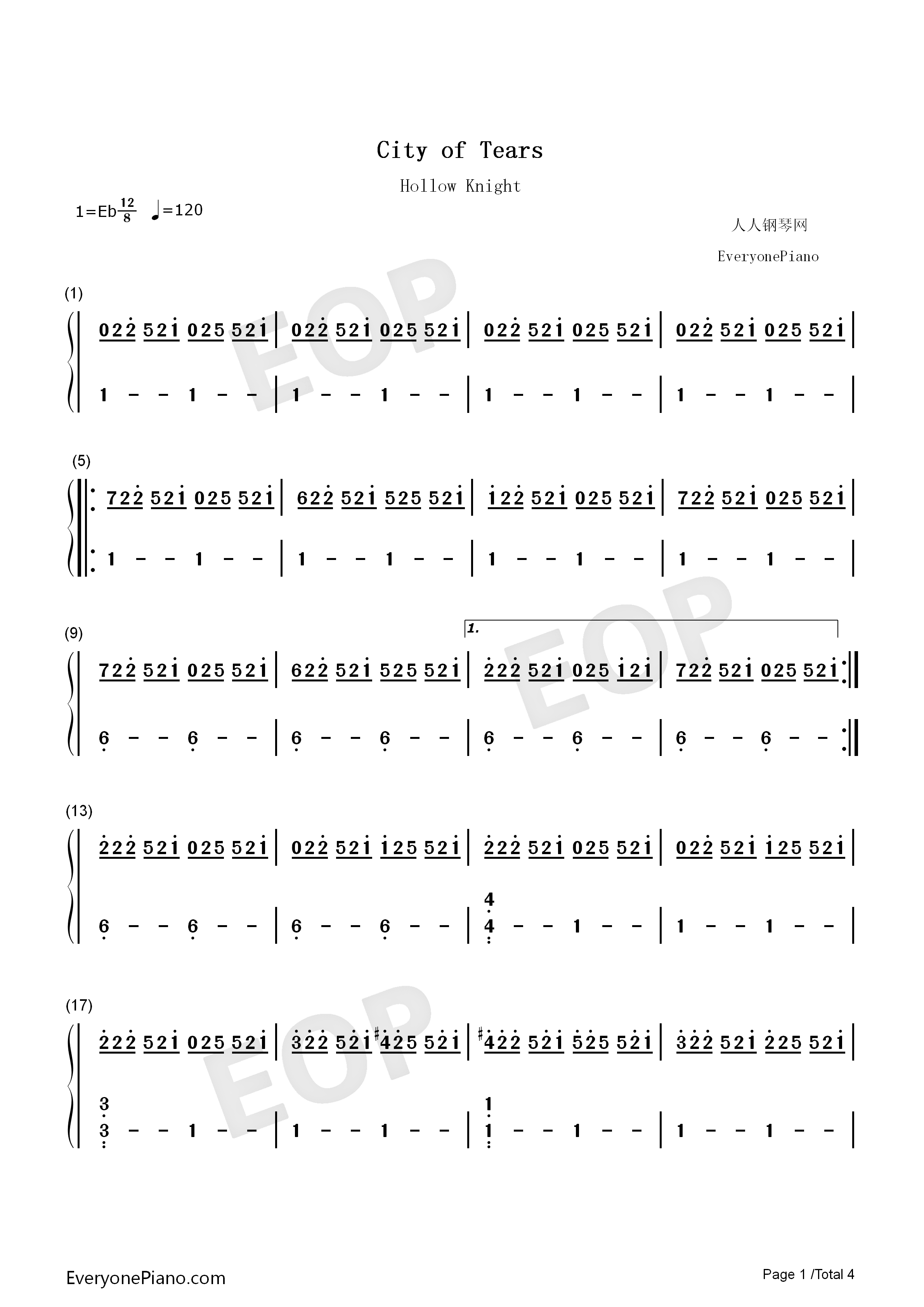 City of Tears-Hollow Knight OST Numbered Musical Notation Preview 1