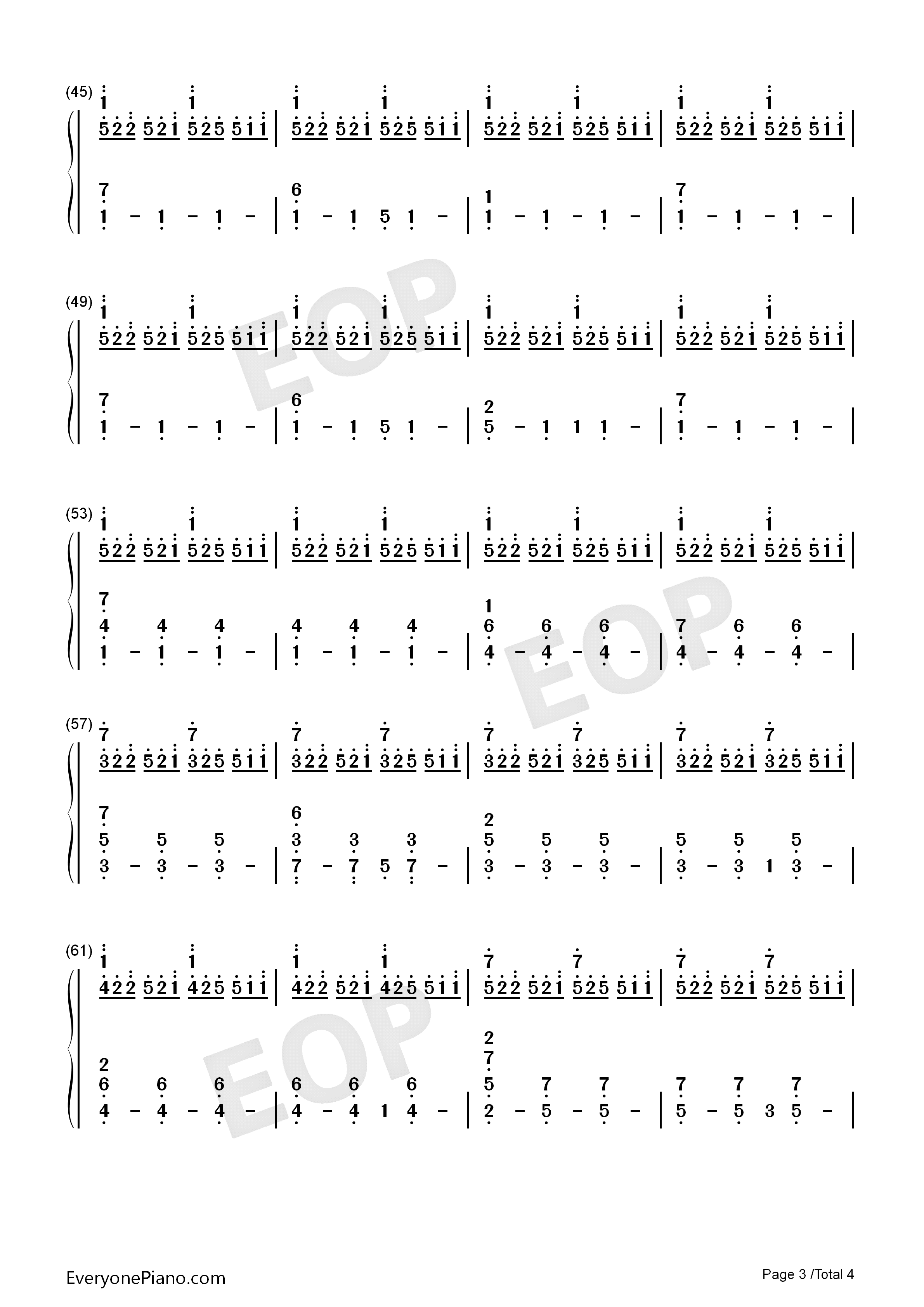 City of Tears-Hollow Knight OST Numbered Musical Notation Preview 3