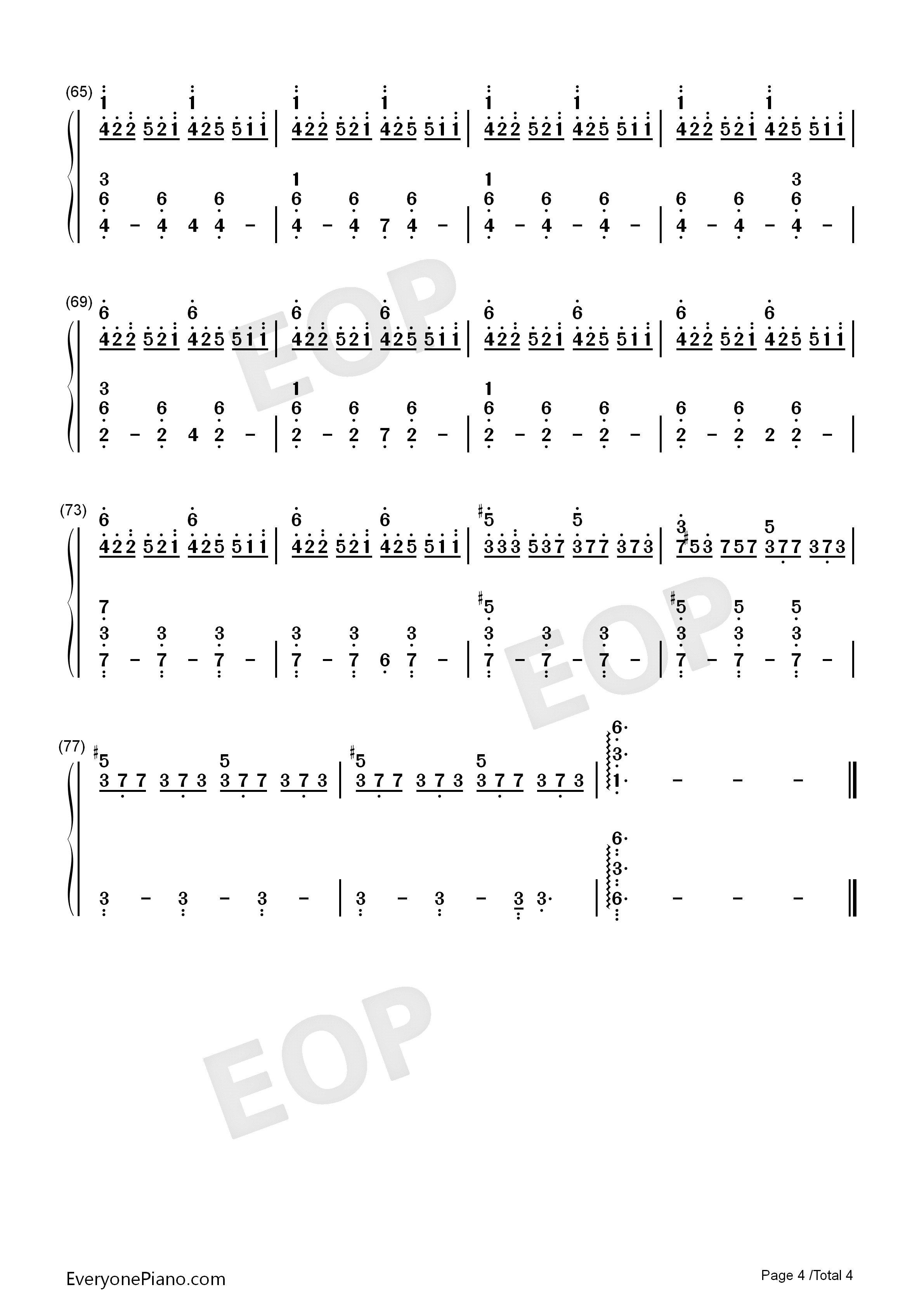 City of Tears-Hollow Knight OST Numbered Musical Notation Preview 4