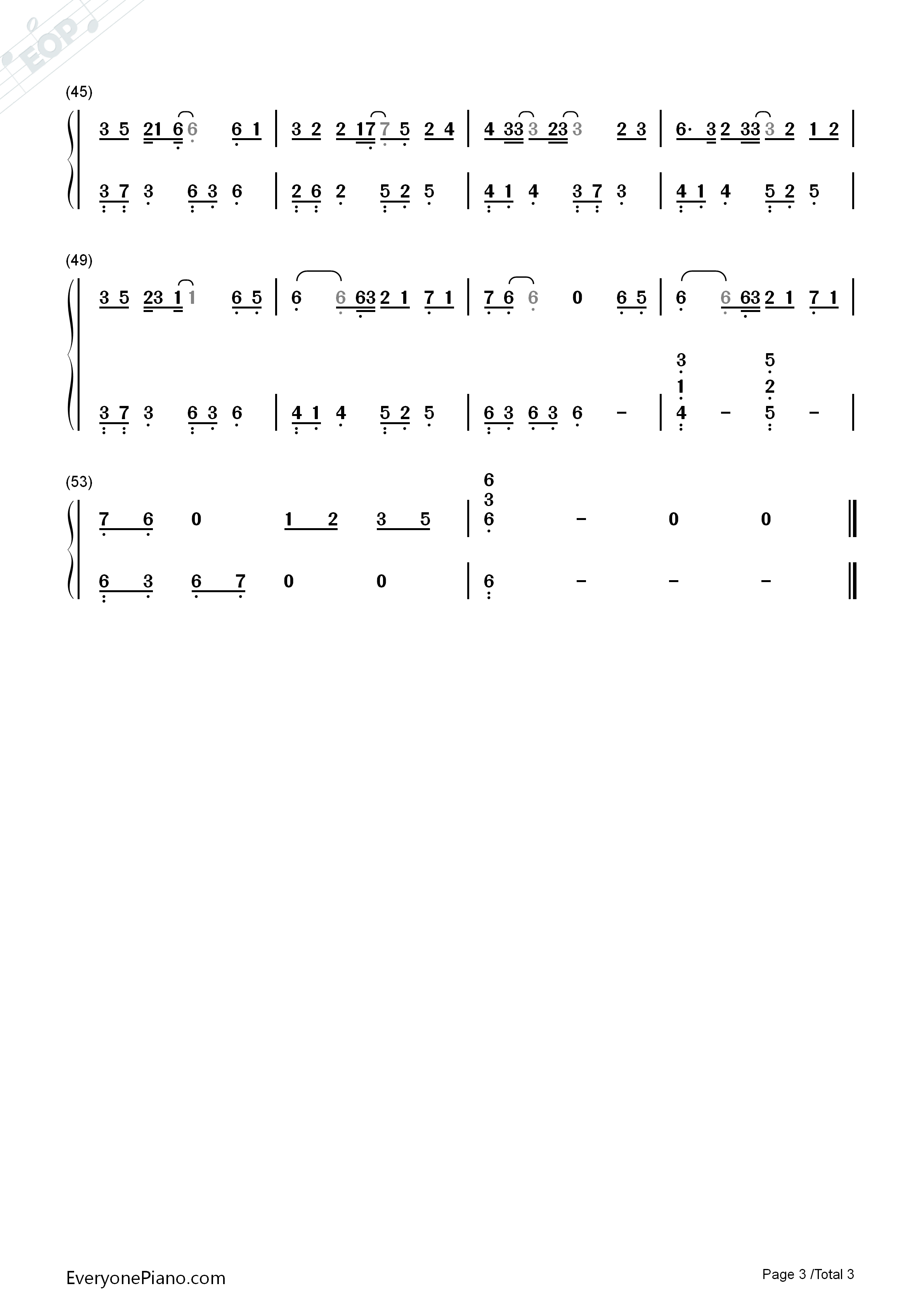 Juvenile In White-I Will Never Let You Go ED Numbered Musical Notation Preview 3