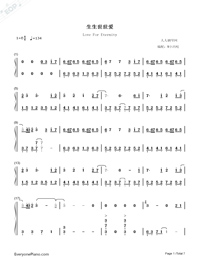 Love For Eternity-Chinese Paladin 3 Theme-Numbered-Musical-Notation-Preview-1