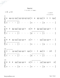 Easier-5 Seconds of Summer-Numbered-Musical-Notation-Preview-1