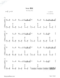 Neon-Rolling Sky-Numbered-Musical-Notation-Preview-1