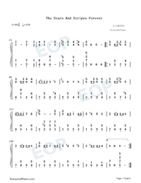 The Stars and Stripes Forever-John Philip Sousa Numbered Musical Notation Preview 1