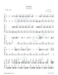Torches-Vinland Saga ED-Numbered-Musical-Notation-Preview-1