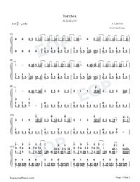 Torches-海盜戰記ED雙手簡譜預覽1