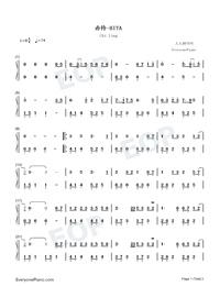 赤伶-抖音熱歌雙手簡譜預覽1